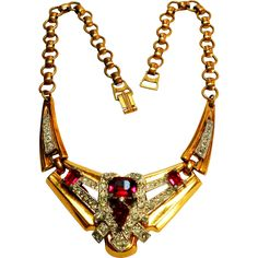 Signed McClelland Barclay Art Deco Style Necklace in Red & Clear c. 1940