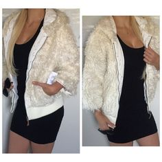 ROXY NWT faux fur fuzzy hooded bomber jacket M ❤️SALE❤️BUNDLE FOR ADDITIONAL DISCOUNTS! Cream color fuzzy jacket. Cropped sleeves, zip front, & hoodie. I purchased online at pac sun and never wore. The lining is a comfy crisp cotton. Pit to pit across front 18 1/2 inches. Shoulder to bottom 23 1/2 inches. Roxy Jackets & Coats