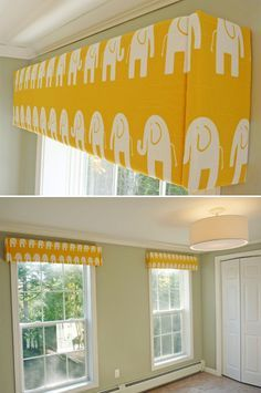 DIY: How to make a window cornice. Wonder if I could do this over my bay window instead of buying the gazillion dollar rod....
