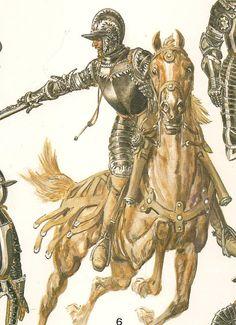 EL RENACIMIENTO - LA CABALLERIA, por Liliane y Fred FUNKEN            REITRE, 1540 .- La pistola a rueda fue introducida en la caballeria  por este tipo de caballero ligero aleman y exigia  la recuperación de los manteletes de hierro con dedos articulados , necesarios para su manejo.