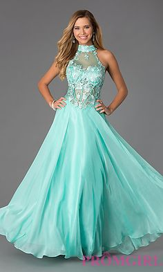 Corset Style High Neck Gown by Dave and Johnny  at PromGirl.com