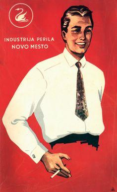 Ambalaža za košulje. Proizvođač: Industrija perila, Novo Mesto.