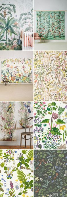 floral wallpapers and choinoiserie