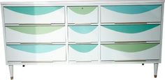 Great mid century dresser love the aqua & lime green