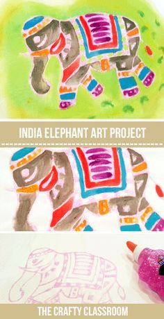 India Textile Painting Fabric Painting with Glue Resist. Use this for any India Pattern or textile. Would work well for Koi Noburi windsocks too Glue Painting, Fabric Painting, Painting Tips, Watercolor Painting, Art For Kids, Crafts For Kids, India For Kids, India Pattern, India Crafts