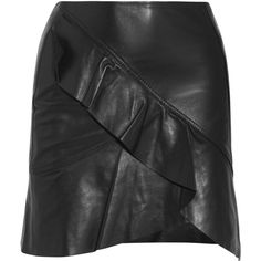 IRO Ruffled leather wrap-effect mini skirt (17.214.710 VND) ❤ liked on Polyvore featuring skirts, mini skirts, wrap mini skirt, short wrap skirt, leather miniskirt and frilled skirt