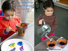 Celebrating Earth Day by painting pots and plating seeds!