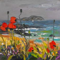 Wind Blown Poppies, North Berwick by Judith Bridgland. Landscape Art, Landscape Paintings, Muse Art, Sky Painting, Seascape Paintings, Art Challenge, Artist Art, Cool Artwork, Art Images