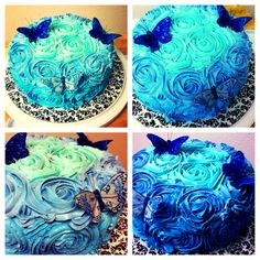 Homemade blue ombre rosette with butterflies cake