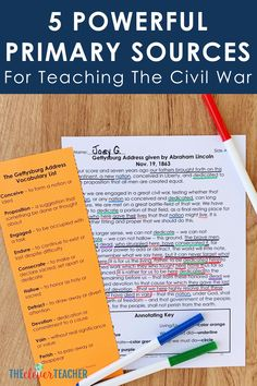 Use these 5 primary sources to create fun Civil War lessons, activities and projects for your kids! These photos and documents will help bring history to life in your classroom. 7th Grade Social Studies, Social Studies Notebook, Social Studies Classroom, Social Studies Activities, Teaching Social Studies, History Classroom, 7th Grade Classroom, Teaching Us History, Vocabulary List