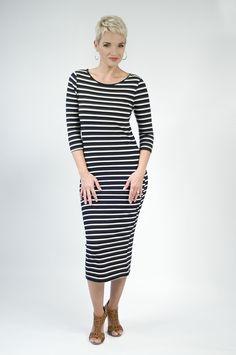 Midi Dress in Black and White