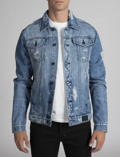 PRPS is known for its Rip & Repair jeans…the roster of greatest hits is vast. Introducing the newest addition to the R & R family, our Ripped Denim Jacket…just the right shade of stonewashed blue with the perfect amount of wear and tear. Destroyed Denim Jacket, Ripped Denim, Distressed Denim, Denim Shirt Men, Denim Jacket Men, Denim Jackets, Repair Jeans, Light Wash Denim Jacket, Denim Outfit