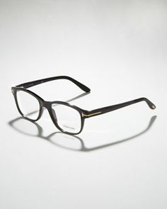 Unisex Semi-Rounded Square Fashion Glasses, Shiny Black/Rose Golden by Tom Ford at Neiman Marcus.