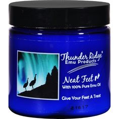 Thunder Ridge Neat Feet - 4 oz - Thunder Ridge Emu Products Neat Feet Description: With 100% Pure Emu Oil Give Your Feet A Treat Aloe Vera, Tea Tree Oil, and Emu Oil combine in this natural foot cream making it not only an excellent moisturizer for dry, cracked feet but also a great product for diabetics. Disclaimer These statements have not been evaluated by the FDA. These products are not intended to diagnose, treat, cure, or prevent any disease. Ingredients: Whole Leaf Aloe Vera…