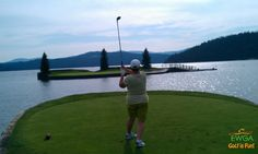 Submitted by Pat H, from EWGA San Diego, CA. Hitting onto the floating par 3 green in Coeur D'Alene Idaho.