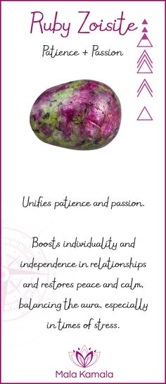Pin To Save, Tap To Shop The Gem. What is the meaning and crystal and chakra healing properties of ruby zoisite? A stone for patience and passion. Mala Kamala Mala Beads - Malas, Mala Beads, Mala Bracelets, Tiny Intentions, Baby Necklaces, Yoga Jewelry, Meditation Jewelry, Baltic Amber Necklaces, Gemstone Jewelry, Chakra Healing and Crystal Healing Jewelry, Mala Necklaces, Prayer Beads, Sacred Jewelry, Bohemian Boho Jewelry, Childrens and Babies Jewelry.