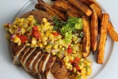 South of the Border Grilled Pork Chops with Roasted Corn Salsa