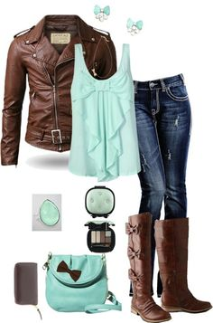 Super cute teal and brown outfit! not so fond of the bow on the shirt but still love the outfit