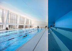 This Refurbished Indoor Swimming Center Retains Elements of the Original #pools trendhunter.com