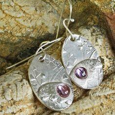 Winged Earrings Fine Silver Pink Sapphire Handmade Artisan Ear Wires | ShanghaiTai - Jewelry on ArtFire