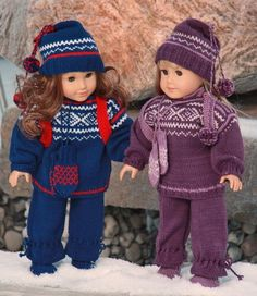 New Malfrid Gausel American Girl doll sweater knitting pattern. Knitting Dolls Clothes, Crochet Doll Clothes, Knitted Dolls, Doll Clothes Patterns, Sweater Knitting Patterns, Baby Knitting, My Life Doll Clothes, Dolly Fashion, American Doll Clothes