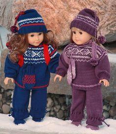 New Malfrid Gausel American Girl doll sweater knitting pattern. Knitting Dolls Clothes, Crochet Doll Clothes, Knitted Dolls, Doll Clothes Patterns, Doll Patterns, Sweater Knitting Patterns, Baby Knitting, My Life Doll Clothes, Dolly Fashion