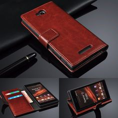 Top Sale $5.59, Buy Retro Geniune Leather Case for SONY Xperia C S39H C2305 C 2305 2305 Luxury Wallet With Flip Stand Phone Bag Gift Touch Stylus