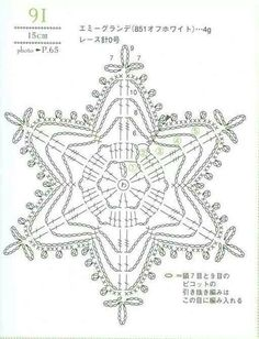 from Crochet laceworkQuite big snowflake Crochet Snowflake Pattern, Crochet Stars, Christmas Crochet Patterns, Crochet Snowflakes, Doily Patterns, Thread Crochet, Crochet Stitches, Christmas Knitting, Crochet Diagram
