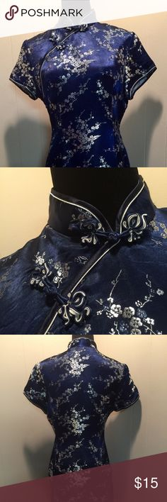 Ladies Royal Blue & Silver Oriental inspired dress Size Large with snap and hook and eye (knot) closure.  Split on both sides. Alex Line Classic Dresses Mini