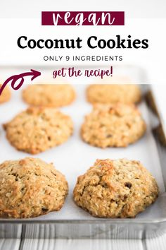 These vegan coconut cookies are absolutely delicious. They're thick and cakey, just sweet enough, with the perfect balance of banana and coconut flavour. They go great with your morning cup of coffee, and make the ultimate afternoon sweet snack. Plus, they're egg, dairy and nut free! #vegan #cookies Vegan Sweets, Vegan Desserts, Vegan Recipes, Snack Recipes, Dessert Recipes, Vegan Blogs, Easy Vegan Cookies, Coconut Cookies, Healthy Cookies