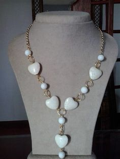 Ivory color hearts and gold necklace