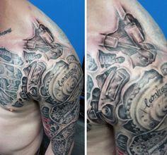 Mechanical Shoulder Tattoo For Men