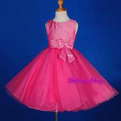 Rhinestone Hot Pink Wedding Flower Girl Dress Formal Pageant Party Size 3T FG205 | eBay