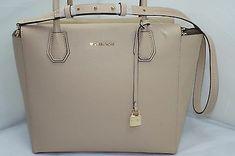 New Michael Kors Mercer Satchel Beige Bag Tote Shoulder Handbag Oyster Leather