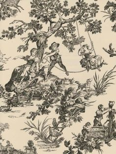 Classic black and white toile wallpaper at AmericanBlinds.com