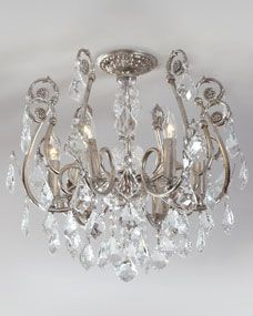 My Bedroom lighting- Mini Chandelier Flushmount Light Fixture at Horchow. Mini Chandelier, Chandelier Lighting, Chandelier In Bathroom, Closet Chandelier, Victorian Chandelier, Bedroom Lighting, Home Lighting, Kitchen Lighting, Lighting Ideas