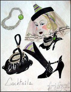 Vintage 1930's Fashion Illustration - Hats, Shoes, Purses, Jewels, gloves