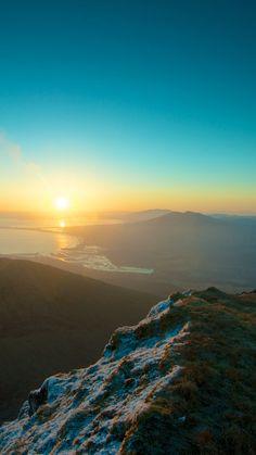 Mountains Sky Sunset Peaks iPhone 6 plus wallpaper - sun, river, grass, winter