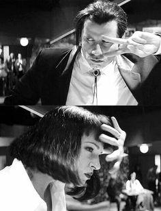 John Travolta and Uma Thurman - 'Pulp Fiction', directed by Quentin Tarantino. Quentin Tarantino, Tarantino Films, Uma Thurman Pulp Fiction, Great Films, Good Movies, I Movie, Movie Stars, Death Proof, Mia Wallace