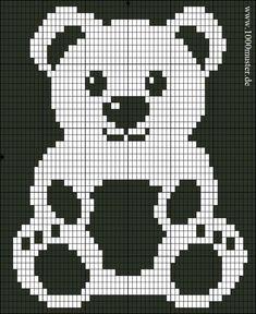 Free Filet Crochet Charts and Patterns: Filet Crochet Bear - Chart A Baby Knitting Patterns, Knitting Charts, Knitting Stitches, Knitting Designs, Baby Patterns, Hand Knitting, Stitch Patterns, Crochet Patterns, Blanket Patterns