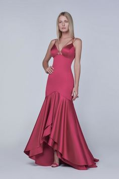 vestido de festa sereia rosa com babado
