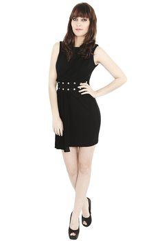 Black Dresses - Diamante Chiffon Shift Black Dress - http://www.blackdresses.co.uk