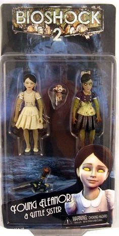 NECA Bioshock 2 Eleanor Lamb and Little Sister Action Figure Set are in height each. Both figures are fully articulated. Accessories include ADAM syringes and a small Big Daddy doll for the girls to hold. Bioshock Rapture, Bioshock 2, Bioshock Infinite, Anubis Mask, Video Game Addiction, Gaming Merch, Big Daddy, Girls Life, Little Sisters