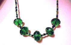 Necklace Emerald Green and Black 5 Crystal by JulieDeeleyJewellery, £6.99