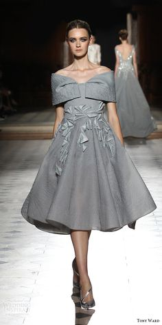 tony ward couture fall winter 2015 2016 look 14 off shoulder knee length dress gray grey applique