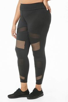 dfb4e1fc53a Forever 21 Plus Size Active Mesh Panel Leggings