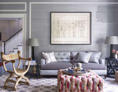 Sophisticated grays | Elle Decor. Interior design by Thom Filicia, Photography by William Waldron.