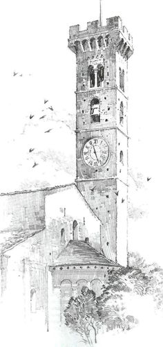 The rough shading and hatching of the tower creates texture, suggesting a brick or stone materiality. jim locke · sketches of buildings Art Drawings Sketches, Pencil Drawings, Building Sketch, Arte Sketchbook, Architecture Drawings, Sketch Painting, Urban Sketching, Pencil Art, Amazing Art