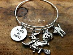 Trick or Treat Hand Stamped Bangle Bracelet, Halloween Charm Bangle, All Hallows Eve Custom Bracelet, Halloweed Themed - Witch, Pumpkin, Cat by JazzieJsJewelry on Etsy