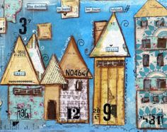 Print mixed media house prints Share the by cathymichaelsdesign